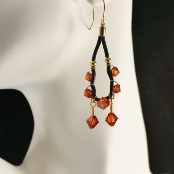 Red Magma Swarovski Crystals and Black Leather Gold Filled Earrings