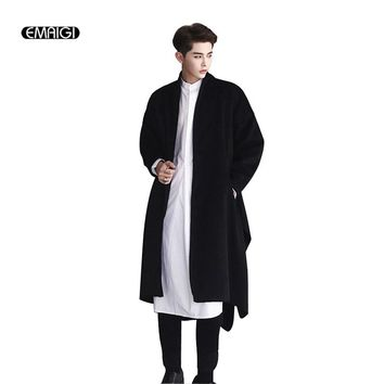 Men Winter Wool Windbreaker Cardigan Coat Fashion Casual Punk Style Long Jacket Japan Street Male Overcoat