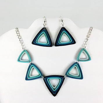 Geometric Blue Ombre Jewelry Set - paper quilling earrings and necklace, blue necklace and earrings, triangle necklace, triangle earrings
