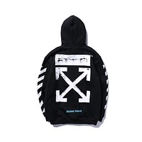 OFF-WHITE 2018 Tide brand coat loose couple models round neck hooded sweater F-A-KSFZ Black