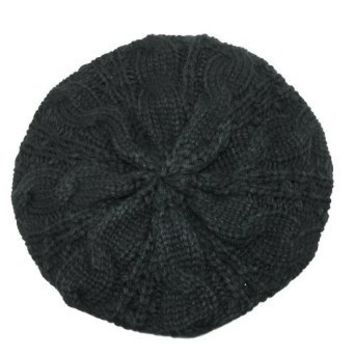 CTM® Womens Chunky Cable Knit Winter Beret