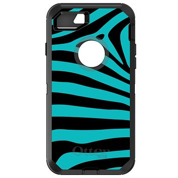 DistinctInk™ OtterBox Defender Series Case for Apple iPhone / Samsung Galaxy / Google Pixel - Teal Black Zebra Stripes