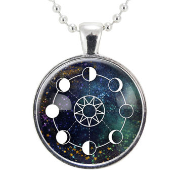 Mystic Moon Phases Galaxy Necklace