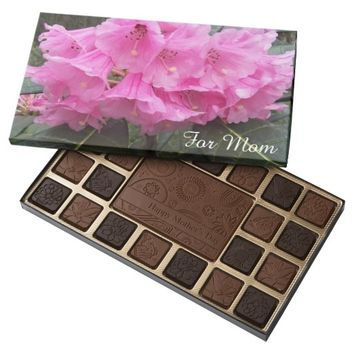 Pink Rhododendrons Photo Mother's Day 45 Piece Assorted Chocolate Box