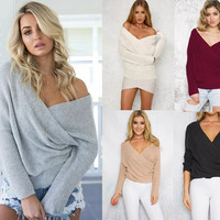 2016 Sexy Pullovers White Sweater Women Autumn Winter Sweater Retro Batwing Sleeve Elegant Loose V Neck Sweaters Pullover GV427