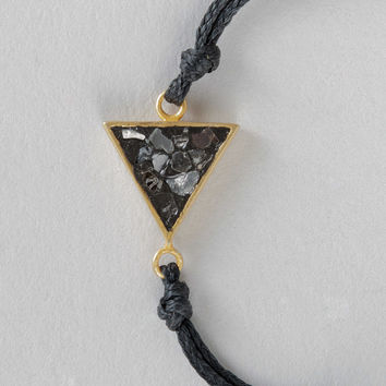 "Haya Elfasi 6"" Triangle Cut Black Diamond Necklace in Gold & Black"
