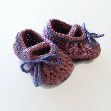 Baby Mary Janes, Baby Girl Booties, Purple Baby Shoes