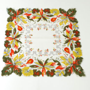 vintage lady's handkerchif // autumn leaves hanky // vintage square white hanky with orange, green, yellow leaf motif