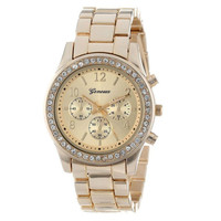 Quartz Geneva Diamond Chronograph Watch (Gold)