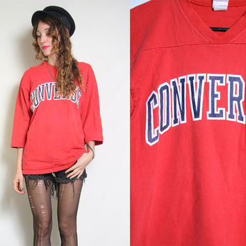 80s CONVERSE Sweater - Vintage Red Jersey - Sweatshirt Crewneck - Sports Sporty - Oversized 80s 90s - Size Medium
