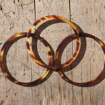 French Celluloid Faux Tortoise Shell Bangles