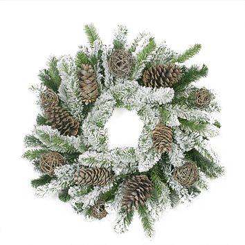 "24"" Flocked Pine Cone and Twig Ball Artificial Christmas Wreath - Unlit"