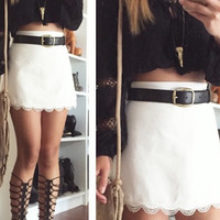 Tina Crochet Trim Mini Skirt - White