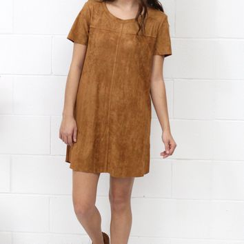 Softy Side Suede Pocket Dress {Camel}