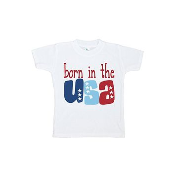 Custom Party Shop Kid's Born in the USA 4th of July T-shirt