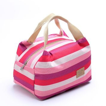Insulated Lunch Box, Striped Lunch Tote Bag for Women, Men And Children, Meal Prep Cooler Bag, Picnic Bag