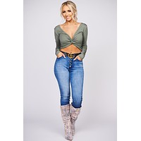 The Night Is Yours Twist Back Crop Top (Olive)