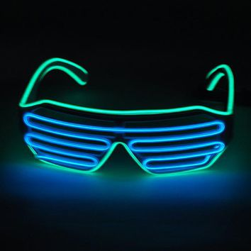 Emazing Lights 2-Color EL Wire LED Light Party DJ Up Bright Shutter Shaped Glasses Rave Sunglasses