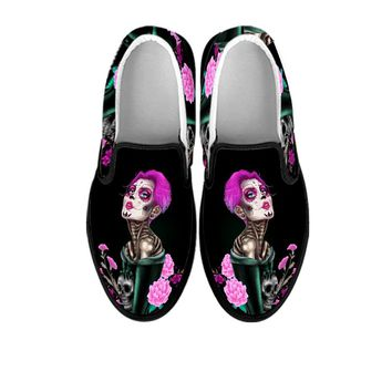 Candy Skull Lady Women's Slip On Shoes