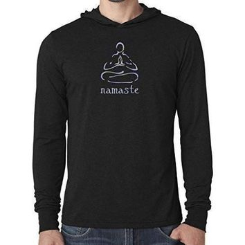 "Yoga Clothing for You Mens ""Namaste Lotus"" Lightweight Hoodie Tee Shirt"
