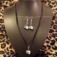 Portal The Cake is a Lie Necklace and Earring by AmandasaurusRexx
