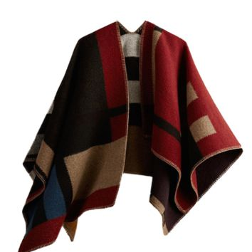 Layla Cape - Classic Red Color Block