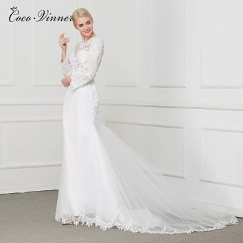 C.V Sheer Boat Neck Hollow Back Elegant Mermaid Wedding Dress With Lace Embroidery Appliques Beading Sashes Bridal Dresses W0205