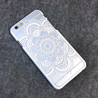 Beautiful Floral Henna Paisley Mandala Palace Flower White Phone Back Bumper Cover Case For iPhone 5 5s 5C SE 6 6s 6 Plus 6s Plus