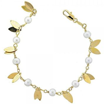 Gold Layered 03.63.1150.07 Charm Bracelet, Leaf Design, with Ivory Pearl, Polished Finish, Gold Tone