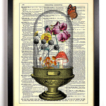 Eco Terrarium Repurposed Book Upcycled Dictionary Art Vintage Book Print Recycled Vintage Dictionary Page Collage Buy 2 Get 1 FREE