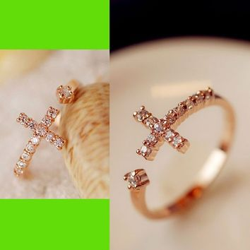 Wishing Cross Cuff Ring (Adjustable)