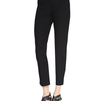 Women's Washable Stretch-Crepe Ankle Pants, Black - Eileen Fisher - Black (X-LARGE (18))