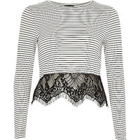 River Island Womens Cream stripe lace hem t-shirt