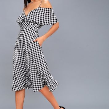 Avila Black and White Gingham Midi Dress