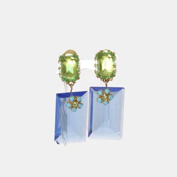 Vintage 60s Rhinestone EARRINGS / 1960s Oversized Transparent Glass Dangle Clip-Ons Unworn