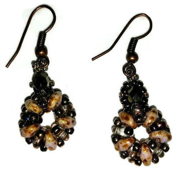 Beadwork woven earrings, neutral brown and sparkly brown on the flip side