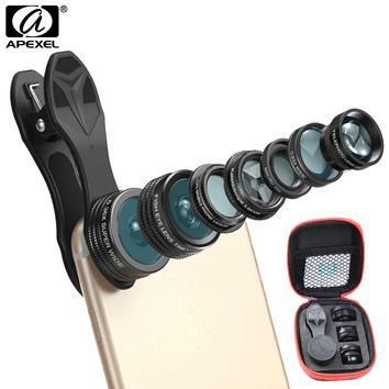 APEXEL Phone Camera Lens Kit Fish Eye Wide Angle/macro Lens CPL Kaleidoscope and 2X telephoto zoom Lens 7in1 for iPhone SAMSUNG