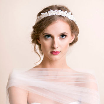 Bridal Crown Lace and Pearls - Wedding Crown - Bridal Lace Headband with Swarovski Pearls - Bridal Headband - Wedding Headband - Ivory