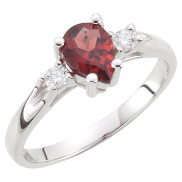 14k White Gold Genuine Pear Mozambique Garnet & Diamond Ring