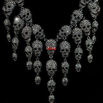 Skulls Cluster Black Diamond Goth Fashion Necklace | Crystal