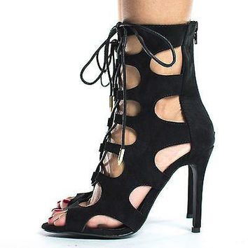 Lolita Black By Shoe Republic, Laser Cut Out Corset Lace Up Stiletto High Heel Sandals
