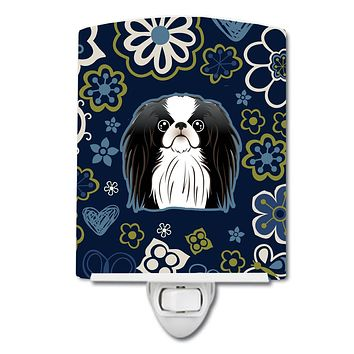 Blue Flowers Japanese Chin Ceramic Night Light BB5081CNL