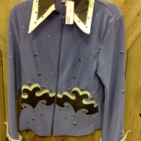 1849 Ranchwear Women's Riding Top Showmanship Jacket, Lavender and Chocolate 7110