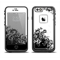 The Abstract Black & White Swirls Skin Set for the Apple iPhone 6 LifeProof Fre Case