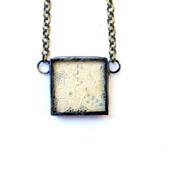 Vintage Lace Pendant, Vintage Lace Necklace, Antique Lace Pendant, Soldered Lace Necklace, Cream Lace Jewelry, Shabby Chic Jewelry
