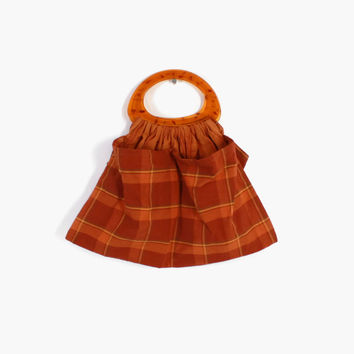 Vintage 1960s KNITTING BAG / 60s Rust Plaid Cotton Purse with Oversized Lucite Handle and lots of Pockets