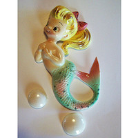 Vintage Py mermaid wall hanging plaque 1950's rockabilly nautical pin up girl kitsch