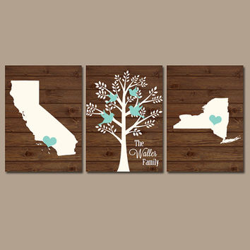 Two States Family Tree Canvas or Prints Personalized Wall Art, Custom Wedding Gift, Last Name Date Tree Birds Set of 3 Couples Gift