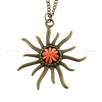 Necklace-vintage style sun necklace with resin flower, cool gift