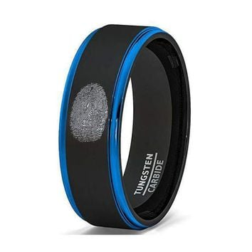 Mens Two Tone Brushed Black Tungsten Wedding Band Finger Print Engraved Blue Step Edge Comfort Fit - 8mm